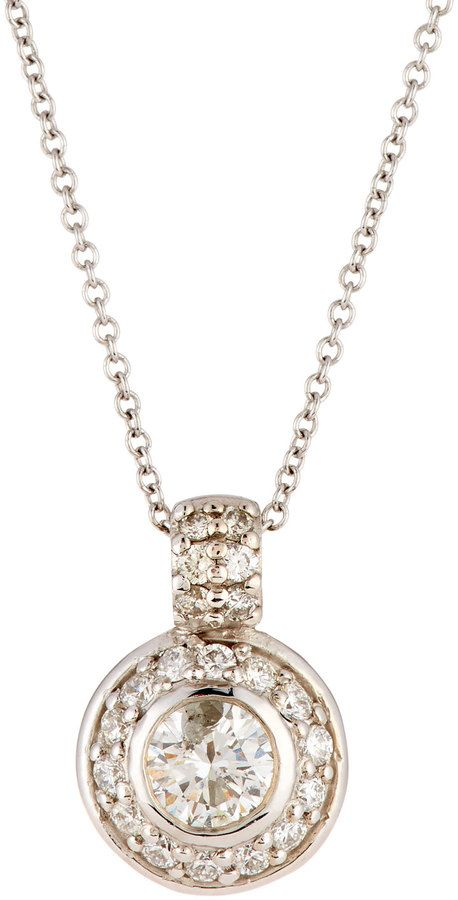Diana M. Jewels 14k Round Diamond Pendant Necklace 9xBaDu