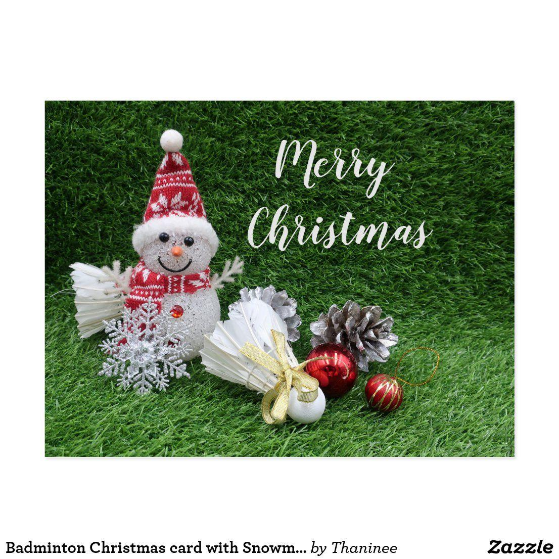 Badminton Christmas Card With Snowman Shuttlecock Zazzle Com In 2020 Custom Holiday Card Christmas Cards Ornament Card