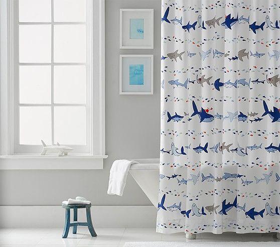 Shark Parade Shower Curtain | Pottery Barn Kids | Kids Bath ...