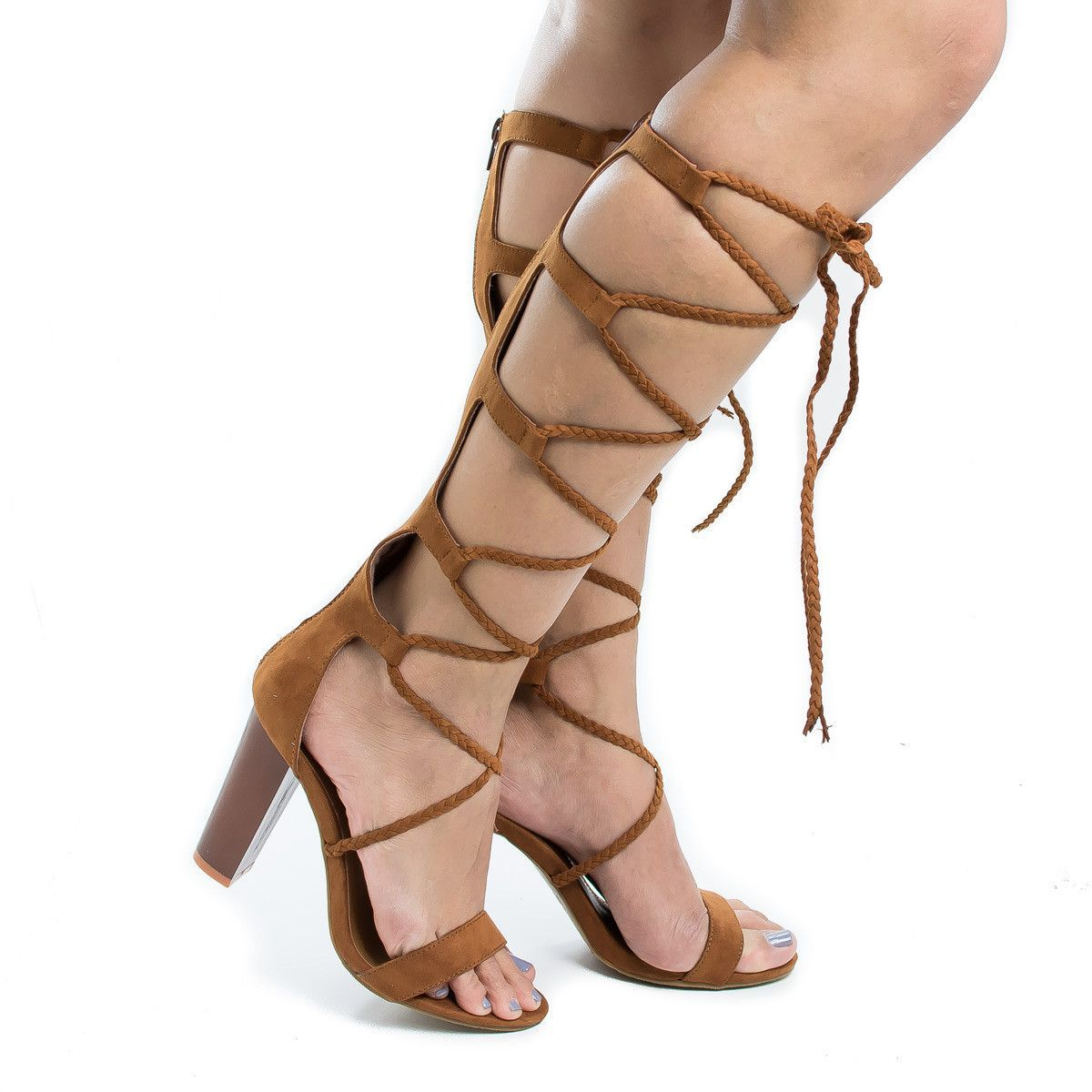 2538f4b35b6 Wildfire20S Knee High Braided Lace Up Gladiator Leg Wrap Heeled Sandals