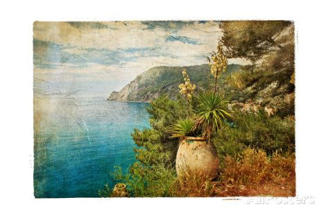 Picturesue Italian Coast - Artwork In Retro Painting Style Prints by Maugli-l - at AllPosters.com.au
