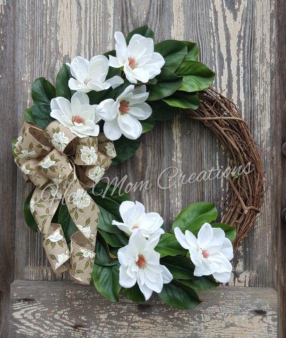 Photo of Magnolia Wreath- Front door wreath- Grapevine wreath- Farmhouse wreath-Spring wreath- Farmhou…
