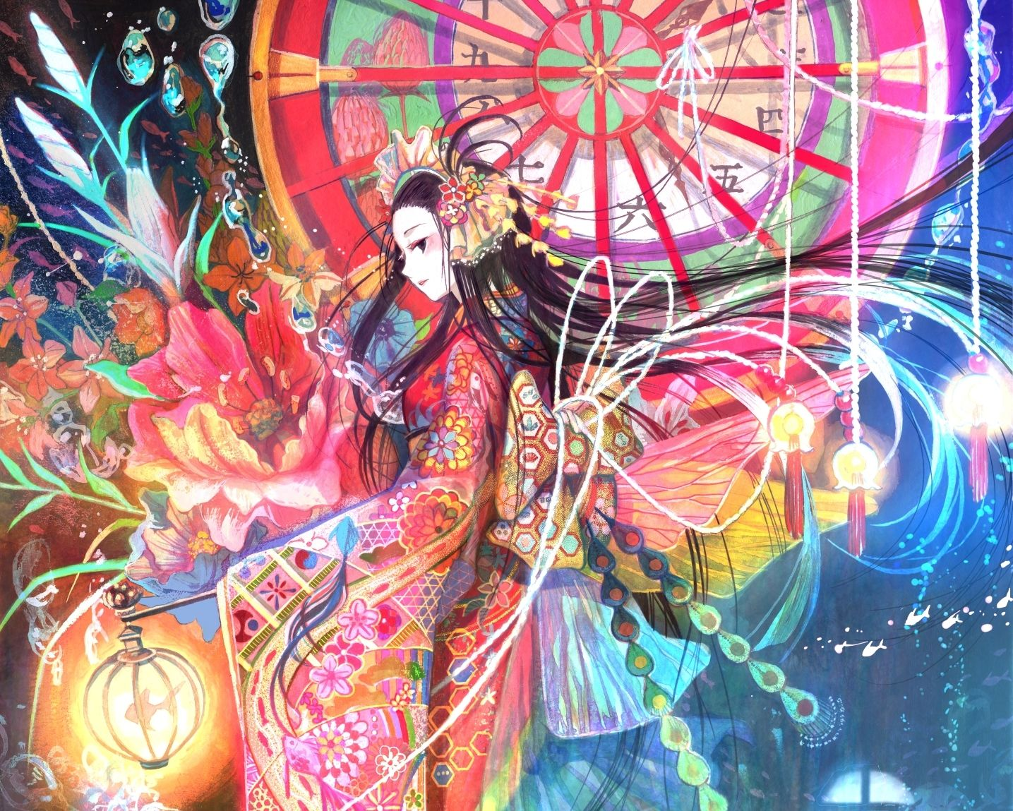Beautiful Colorful Girls Anime Sakura Wallpaper Princess Kaguya Decending Fuji Choko Japan Is Epic