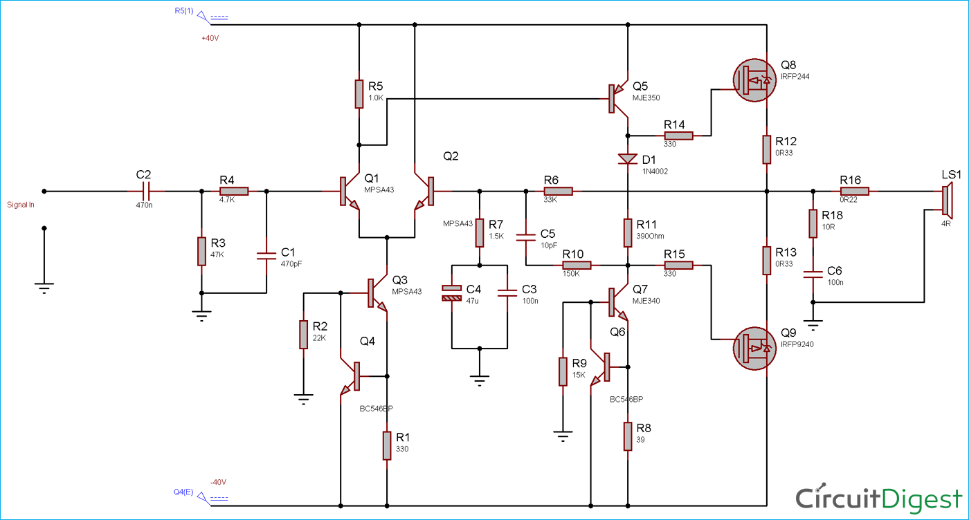 500w Audio Power Amplifier Circuit Diagram Circuit Diagrams Free