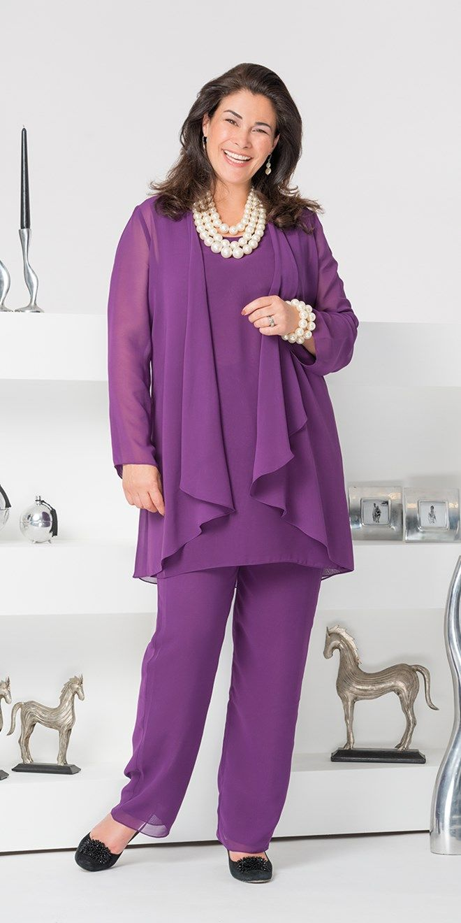 Veromia purple chiffon jacket, vest and trouser | bodas | Pinterest ...