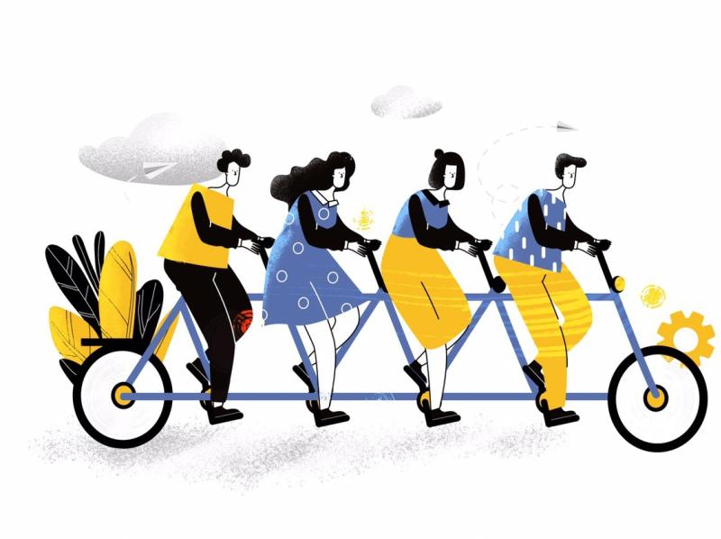 Teamwork linear vector illustration by Maria Nestsiarovich