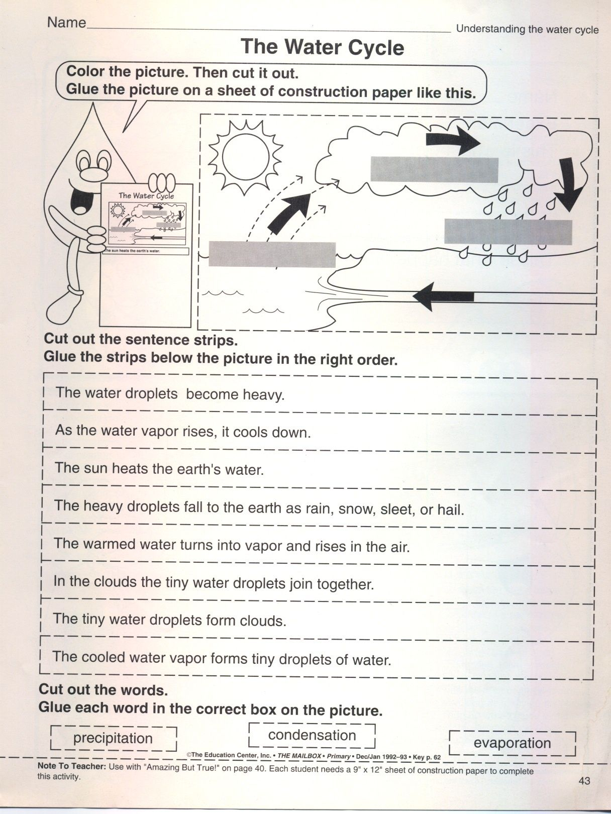 put the water cycle in correct order worksheet   Dynamics cards