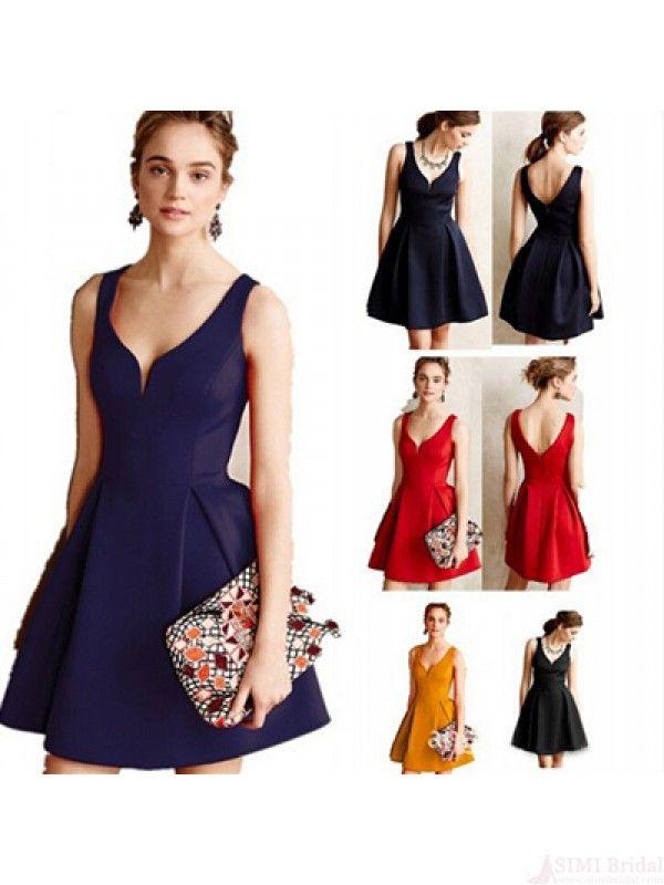 Vintage Solid Color Backless Dress For Women Plus Size #SIMIBridal #vintagedresses #cheapdresses