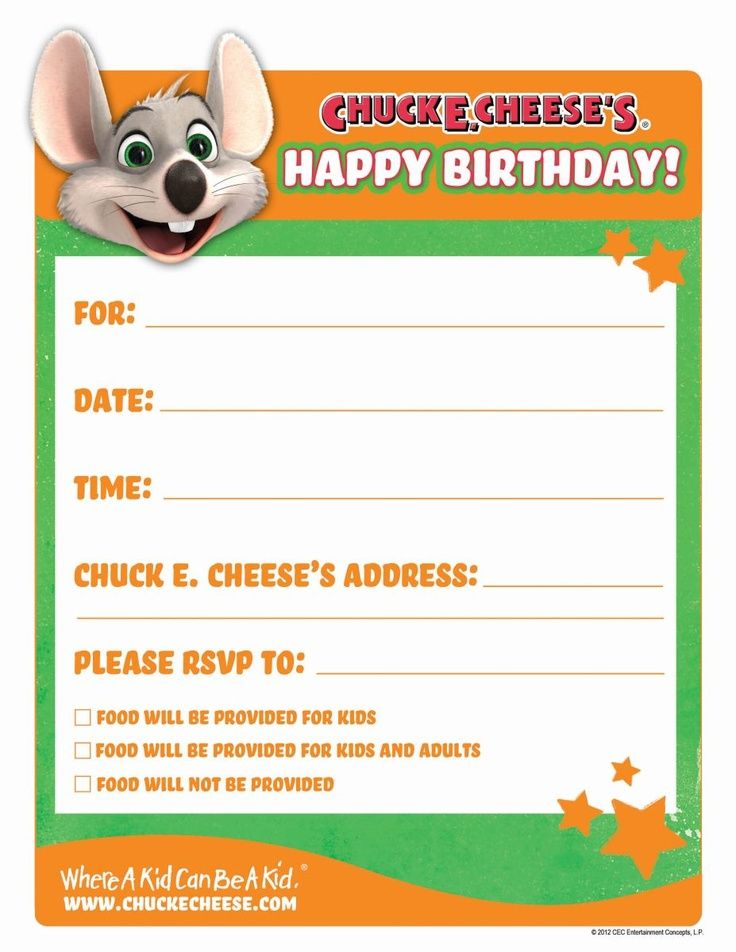 Free Printable Chuck E Cheese Invitations