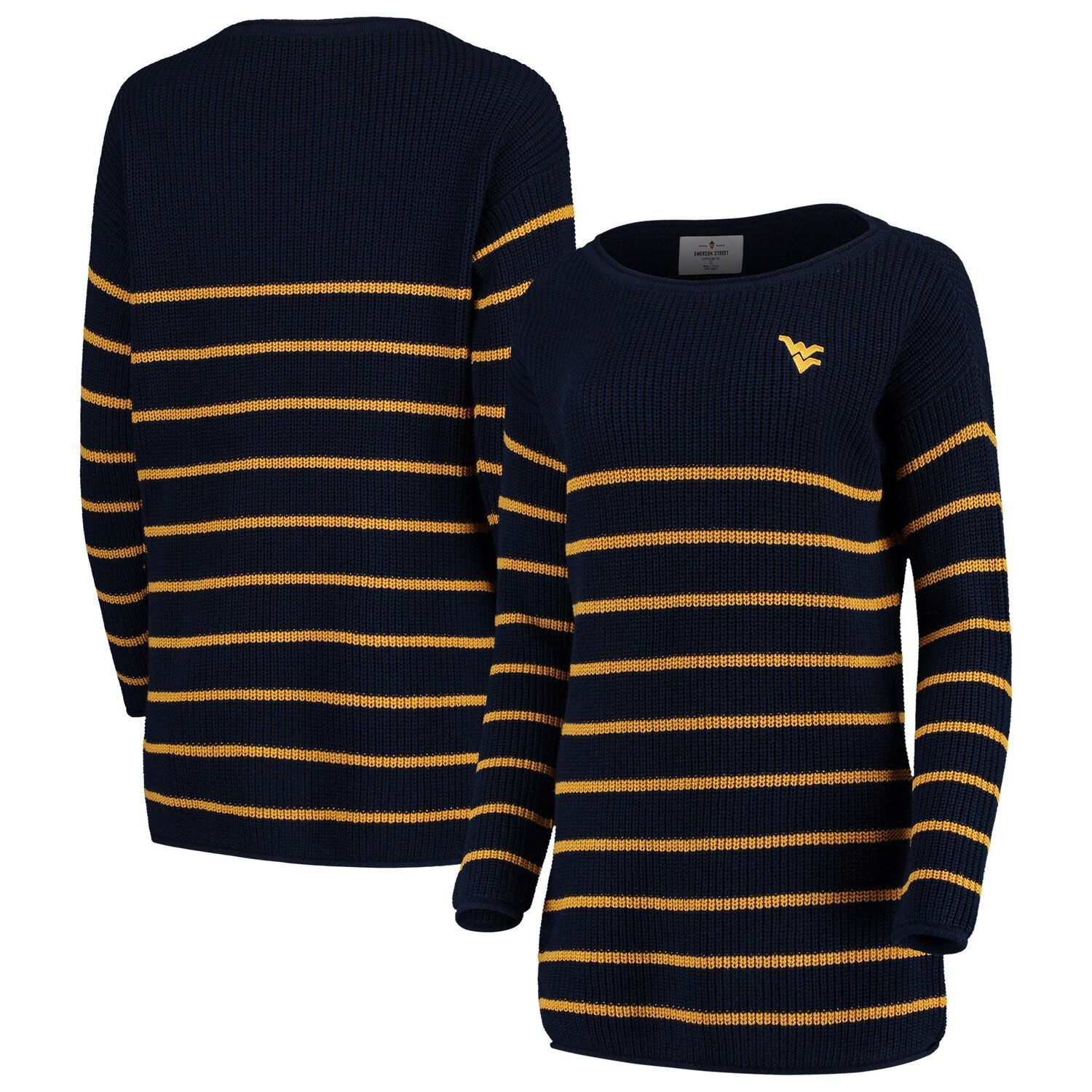 Women's Navy West Virginia Mountaineers Missy Juliette Striped Knit Sweater #westvirginia