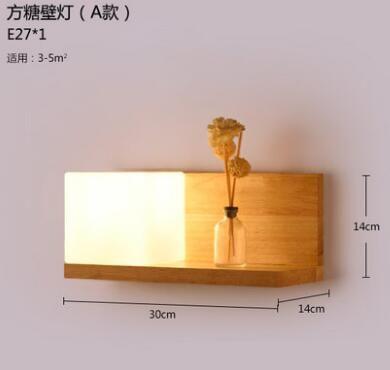 Art de chevet en bois mur lampe balcon carré mode brève bois massif - mur en bois interieur