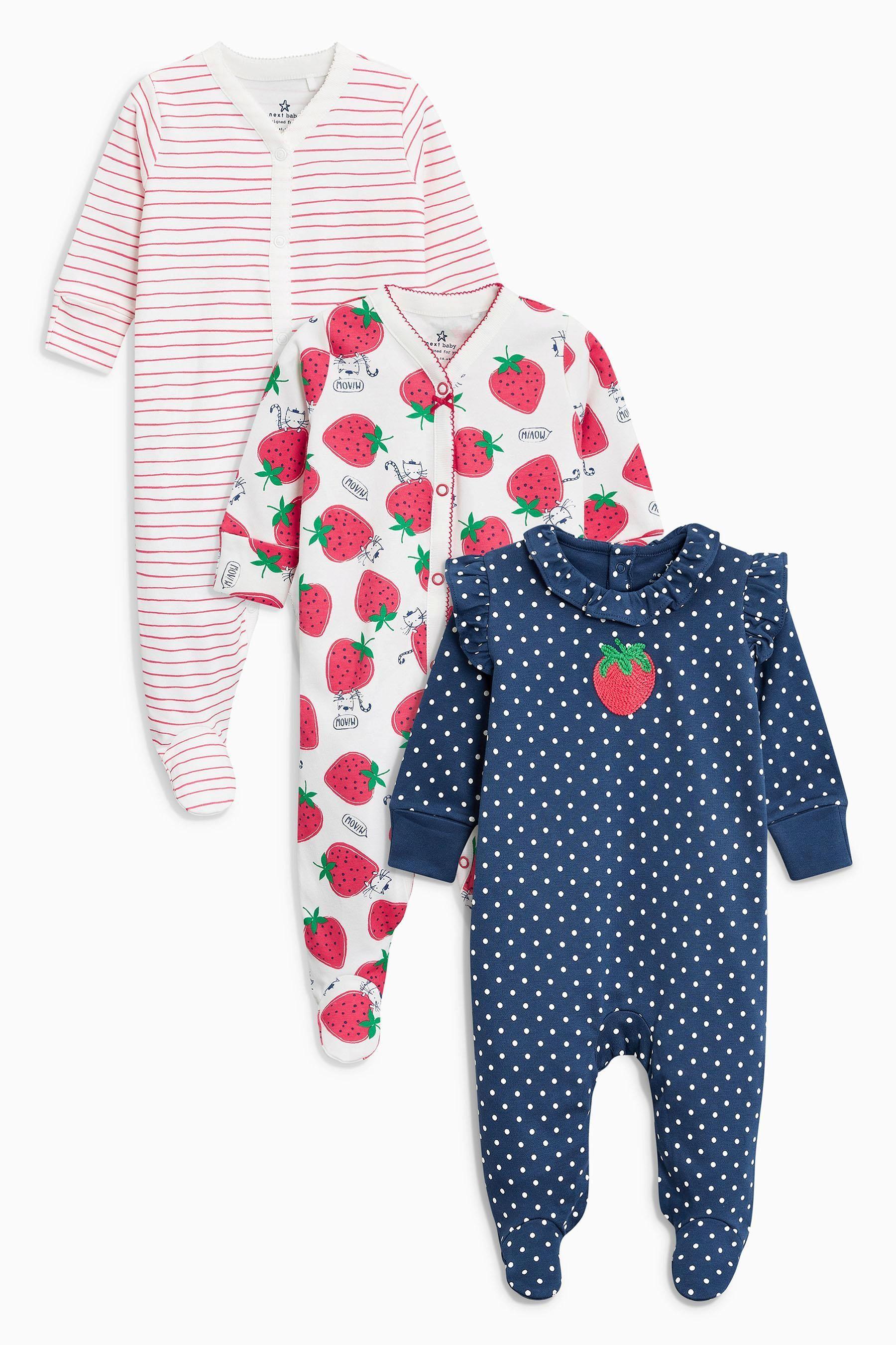 bffe290c891f5 Acheter Lot de trois dors-bien imprimé fraise bleu marine rouge (0 mois - 2  ans) from Next France