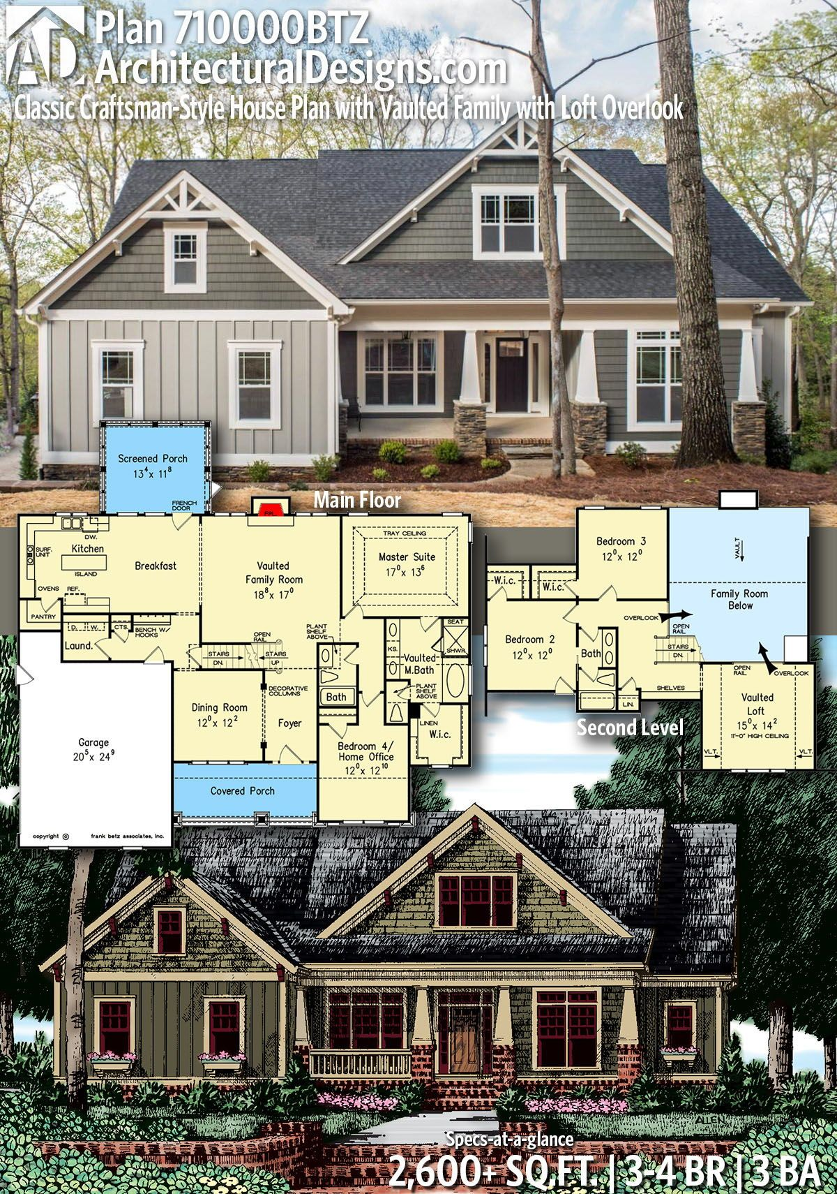 Plan 710000btz Classic Craftsman Style House Plan With Vaulted Family With Loft Overlook Craftsman Style House Plans Craftsman House Plans Modular Home Plans