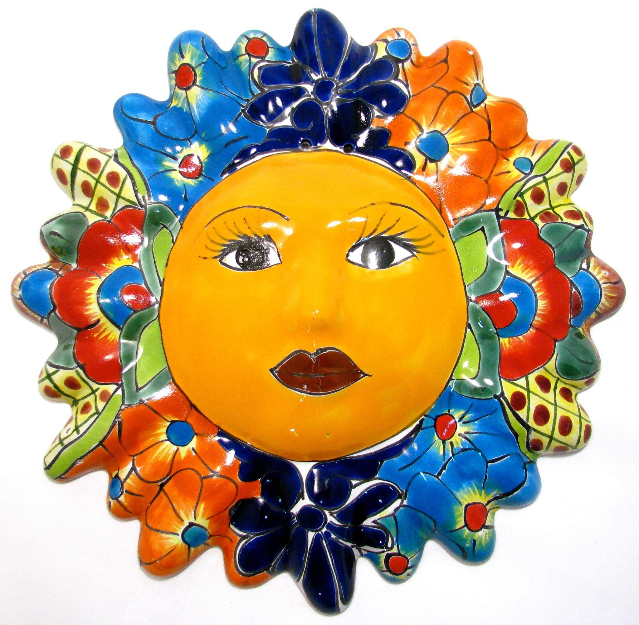 "MEXICAN WALL HANGING TALAVERA POTTERY SUN FACE 12"" TS12007"