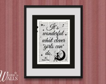 PETER PAN ART What Clever Girls Can Do Vintage Encyclopedia Art Print Peter Pan Quote Upcycled Book Page Home Decor Wall Decor Nursery Decor