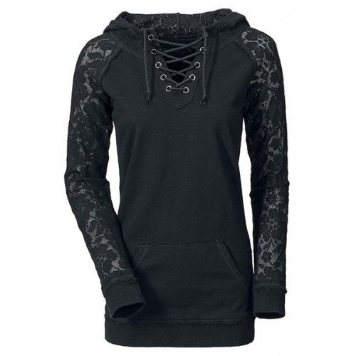 Photo of Lace Splicing Lace-Up Long Sleeve Stylish Hoodie For Women b…