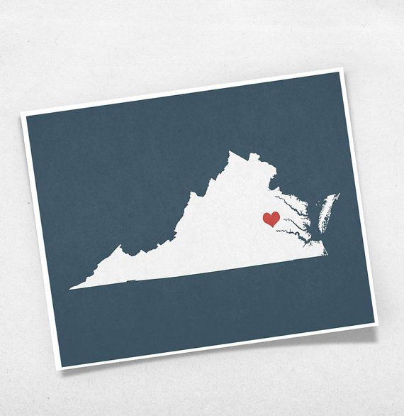 Virginia state map custom personalized heart print i love usa virginia state map custom personalized heart print i love usa hometown wall art gift souvenir richmond negle Images