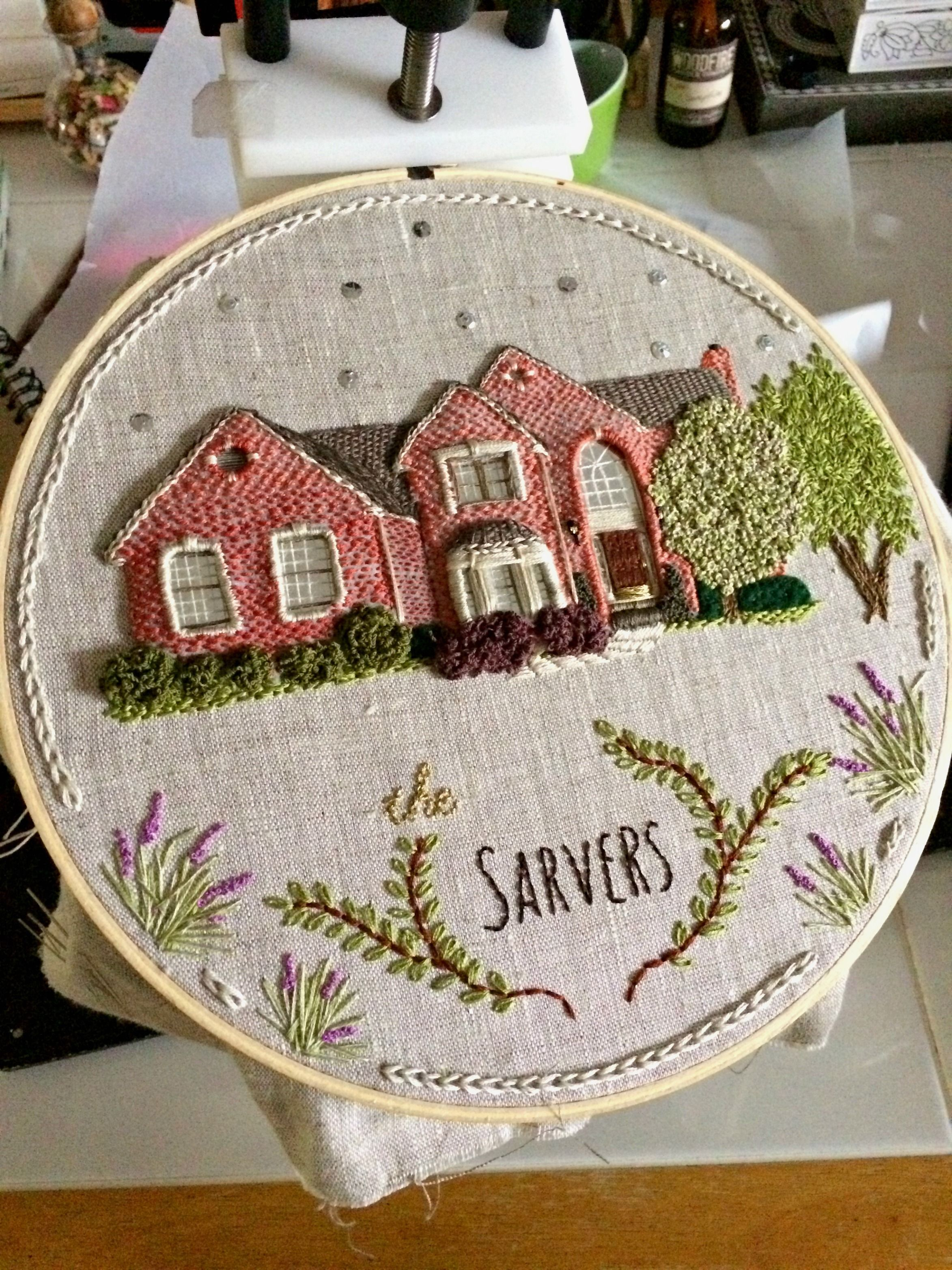 House Portrait In Surface Embroidery By The Monsters Lounge