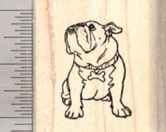 Bulldog English British Dog Outline Rubber Stamp for Stamping Crafting Planners 3//4 Inch Small