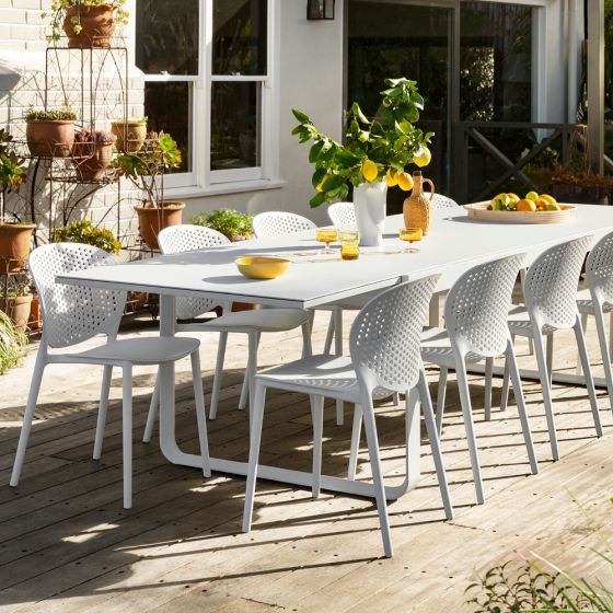 Rye Dining Table With 10 Cate Dining Chair White Package Outdoor