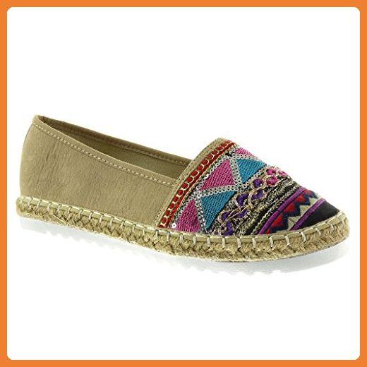Angkorly Damen Schuhe Espadrilles Derby-Schuh - Low - Perforiert - Blumen - Glänzende Keilabsatz High Heel 4 cm - Weiß WD1732 T 38 RSaKSgu