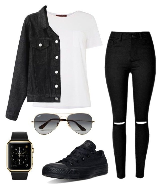 """""""#No Name"""" by eemaj ❤ liked on Polyvore featuring MaxMara, Converse, Ray-Ban, women's clothing, women, female, woman, misses and juniors"""