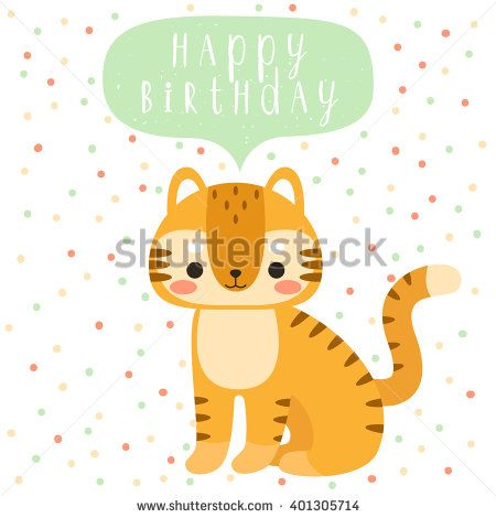 Mirrelley cute cartoon animals pinterest cartoon texts and design of birthday card with cute cartoon baby tiger with happy birthday text message on polka dots background can be used for greeting cards or party bookmarktalkfo Images