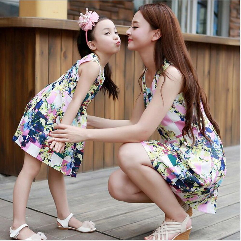 5be18846b7b0 Women Mother Daughter Matching Dresses Summer Girl Dress Clothes Outfit Qw