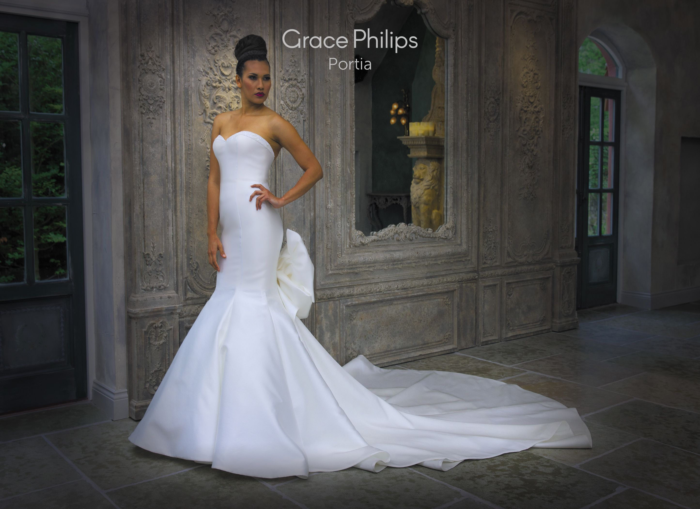 strapless ivory mikado fishtail wedding dress with detachable