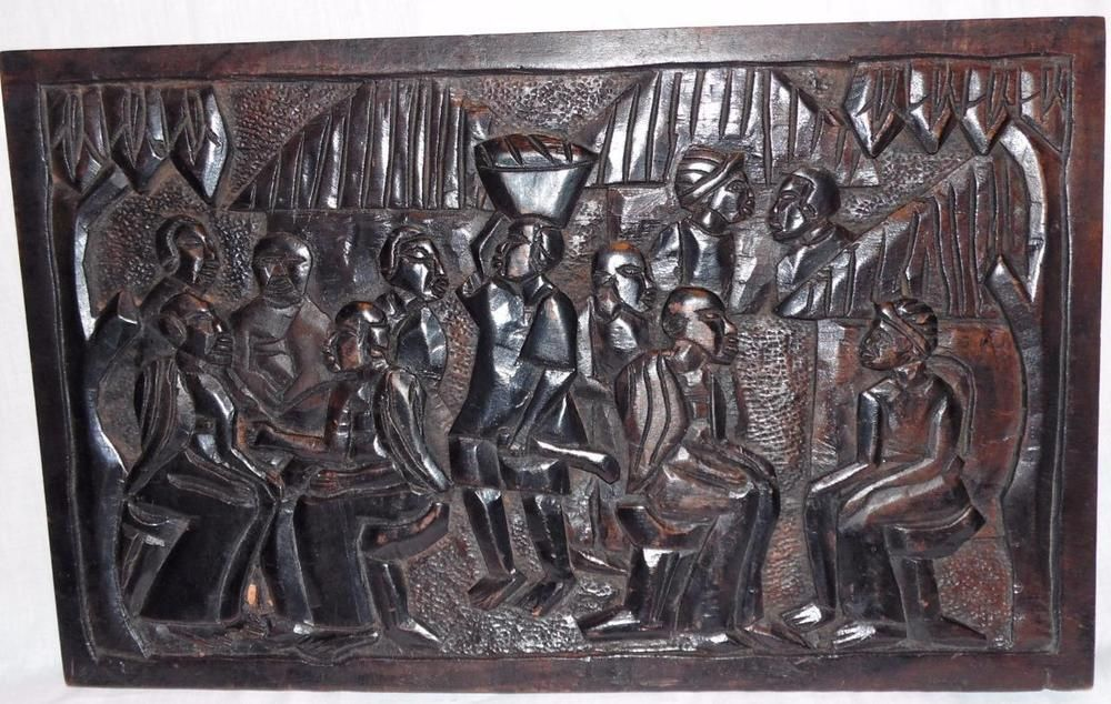 African Tribal Carved Wood Wall Art Plaque People Hanging Out Sculpture Art Plaque Carved Wood Wall Art Wood Wall Art