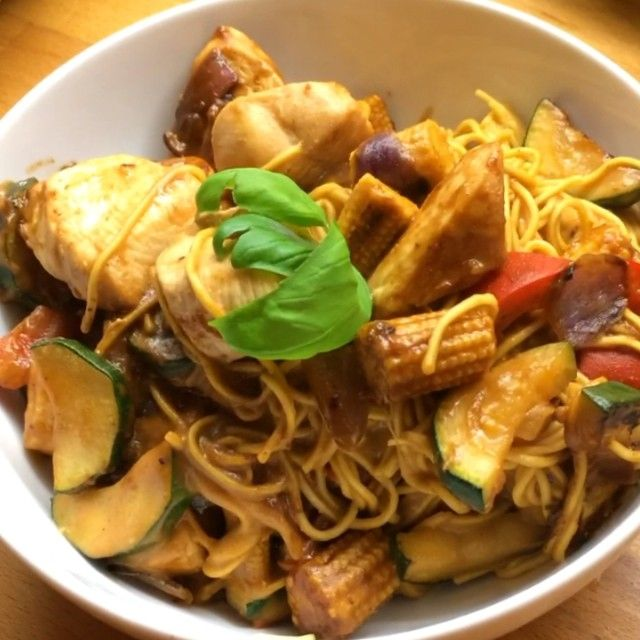 Peanut Butter Chicken Stir Fry With Baby Corn Egg Noodles Ready For Leanin15