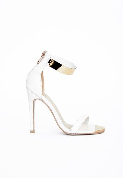 Kim Gold Plate Ankle Strap Heeled Sandals White Shoes