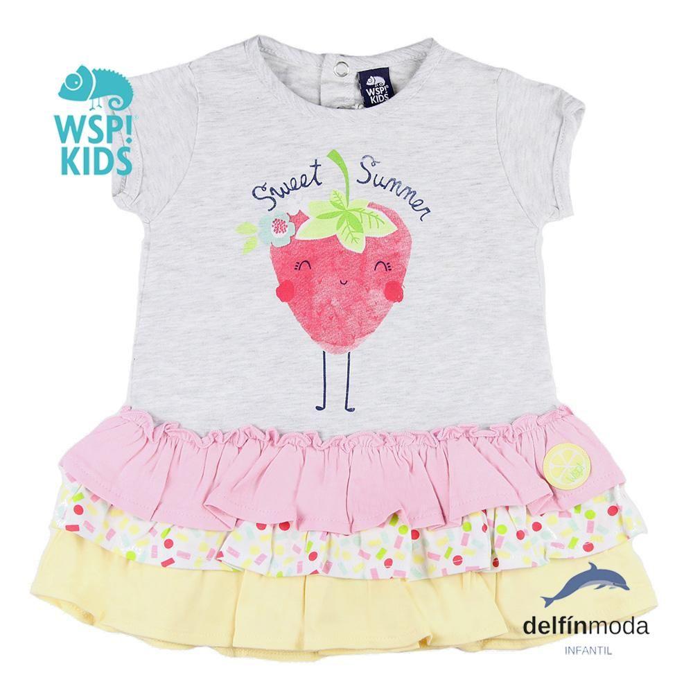 Vestido de bebe WSPKIDS algodon volantes fresa