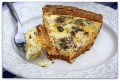 Turkey Sausage Breakfast Quiche. This doesn't lead to a recipe, but I make it the old fashioned way, a little of this, a little of that.