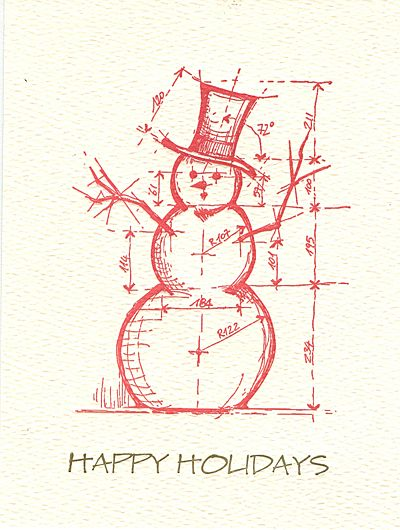 Museum Christmas Cards 2020 architectural snowman letterpress holiday cards — MUSEUM