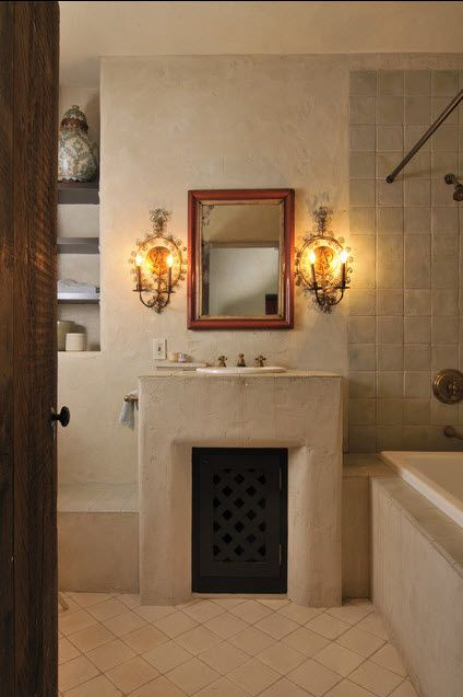 Muted bathroom. Adobe. | Spanish style bathrooms, Bathroom ...