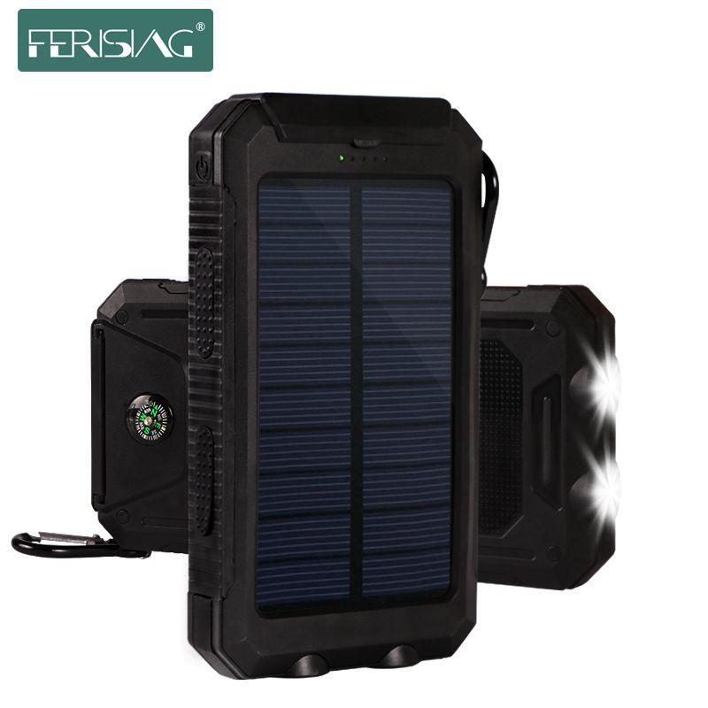Solar Power Bank 10000mah Waterproof Bateria Externa Battery Pover Powerbank Portable Solar Mobile P Solar Battery Bank Solar Charger Portable Solar Power Bank