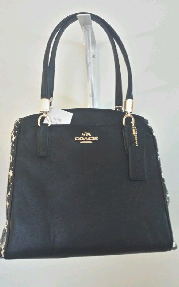 New Coach Handbag Python Snake Skin Minetta Leather Satchel Two Tone Black In Handbags Purses Ebay