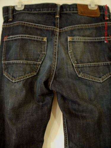 Hilfiger Mens Premium Denim Jeans Sz 29/30 Custom Boot Dark Blue Distressed $69-NOW ONLY $9.99!!!