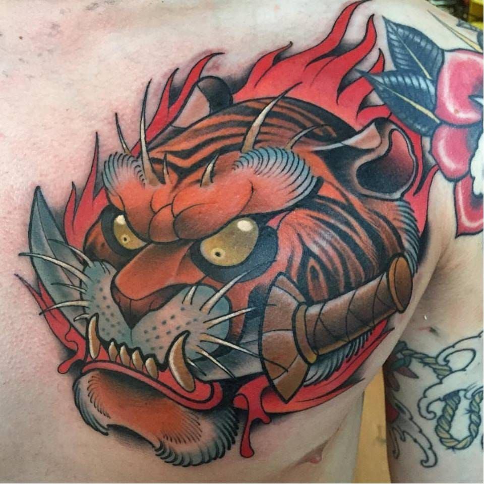 awesome bold color tiger tattoo from david tevenal davidtevenal tiger newjapanese newschool. Black Bedroom Furniture Sets. Home Design Ideas