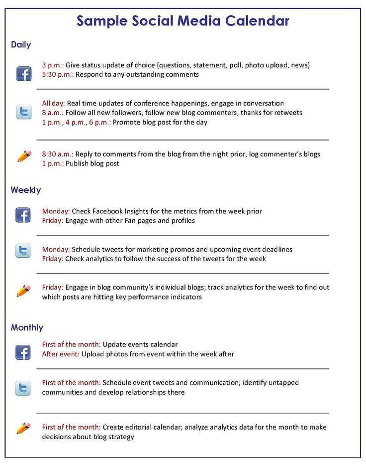Social Media Marketing How To Get A Handle On Your Social Media - Facebook post calendar template