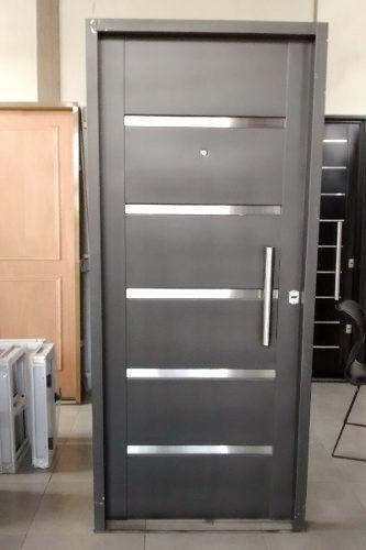 Puerta chapa inyectada con insertos acero inox de 88x205 - Puerta balconera aluminio ...