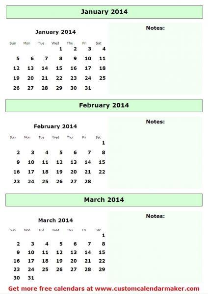 3 Month Calendar 2014 Calendar Calendar Quarterly Calendar