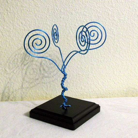 Blue Wire Tree - Business Card Holder | Wire trees, Business card ...