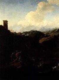 Paesaggio fluviale con soldati e viandanti by Salvator Rosa
