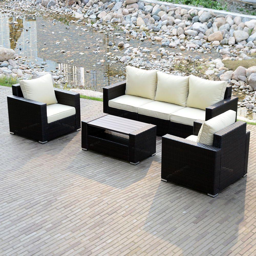 Sectional Outdoor Patio Wicker Rattan Sofa Sets PE Deck Couch Garden