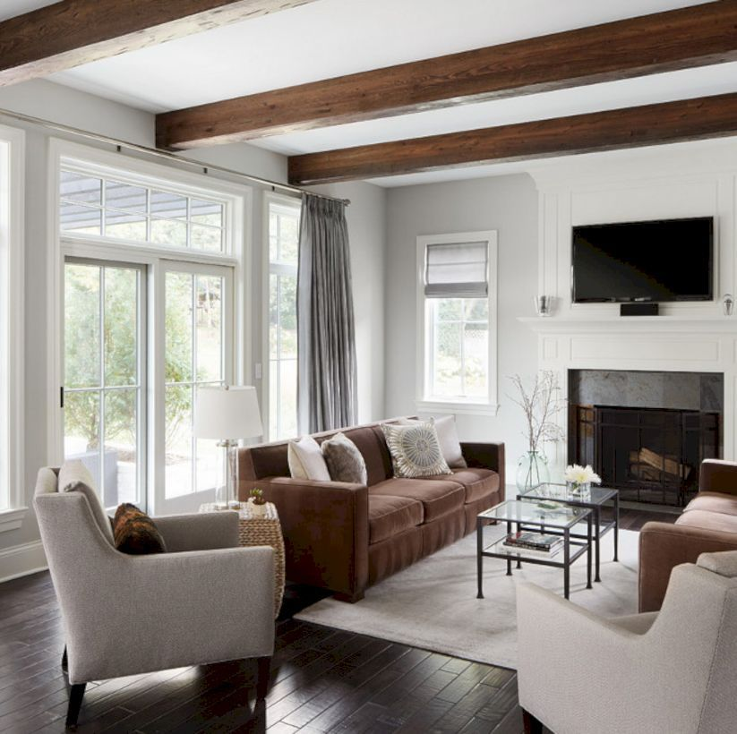 Wood Beams Flat Ceiling White Fireplace Light Gray Walls Beams Living Room Living Room Ceiling Brown Living Room