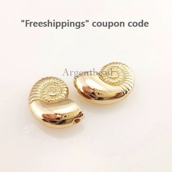 2pc 22mm Snail shell Charm,shell Charms, Seashell Charm,Gold Sea Shells Pendant,Snail Shell,Sundial Seashell AG2016111313 by Argentbead on Etsy