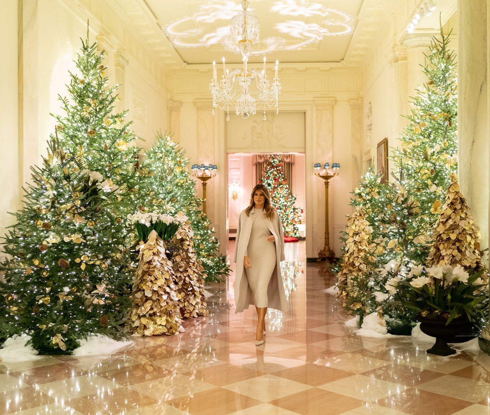 Flotus Melania Trump Shows Off The White House Christmas Decorations On Dece White House Christmas Decorations White House Christmas White House Christmas Tree