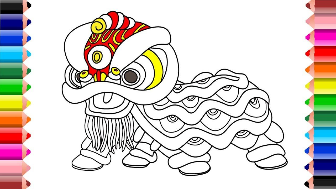 Drawing and Coloring Lion Dance For Kids Learns Color